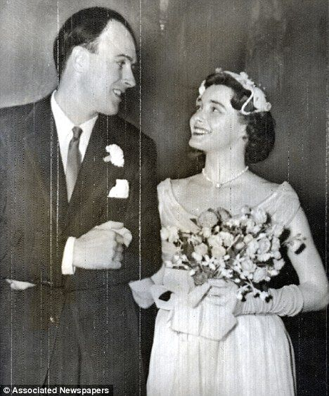 Roald Dahl and Patricia Neal on their wedding day.: