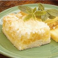 PINEAPPLE COCONUT SQUARES        Add yours        35 minutes to make      Serves 16    Chewy pineapple-coconut bars on a cookie crust        chewy      lemony      coconutty      wow      lemon      coconut      more...        save      planner      print      email      groc. list    Ingredients        2 T butter, melted      3 T sugar      1 egg      1 c flour      1 t baking powder      2 cans (8 oz each) unsweetened crushed pineapple, drained      TOPPING      1 T butter, melted      1 c…