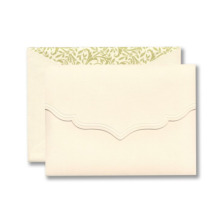 Scalloped invitation pocket with embossed flap.