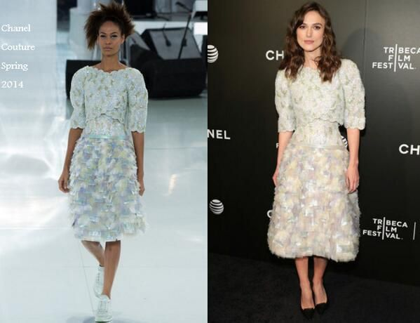Keira Knightley In Chanel Couture - 'Begin Again' Premiere 2014 Tribeca Film Festival. Re-tweet and favorite it here: https://twitter.com/MyFashBlog/status/460524377281290240/photo/1