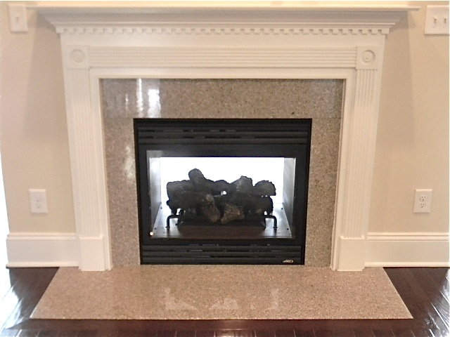 See through fireplace double sided wheat field granite for Marble for fireplace surround