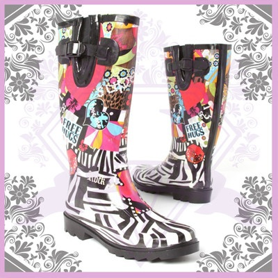 Love these boots!  This colorful rain boot makes your gray raining sky to a brighter one!   Featuring artistic zebra city view graphic print, round toe, low rubber outsole, buckle strap detailing and lined with cotton/canvas material for moisture absorbing
