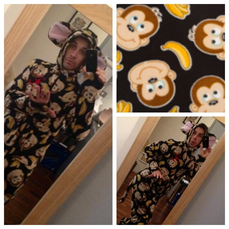 Russell Kane  Gone Bananas Monkey Onesie  Complete with thumbcuffs, hood, monkey ears, monkey tail, front pockets and keep-safe pockets.