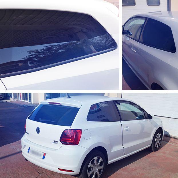 Vitres teintées sur Volkswagen Polo blanche