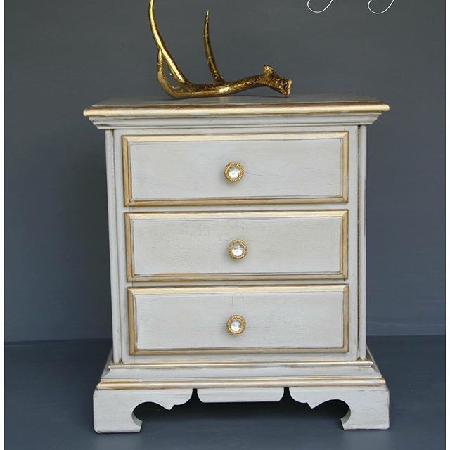 End Table Re Loved With An French Chic Look, Accented With Pale Gold Metallic  Paint