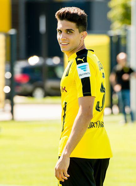 Dortmund's Marc Bartra poses during the team presentation of Borussia Dortmund on August 17 2016 in Dortmund Germany