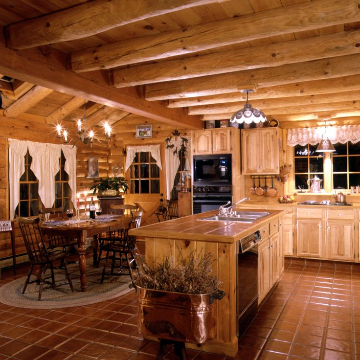 Log Home Kitchen ~ warmth of tiles for island counter and floors