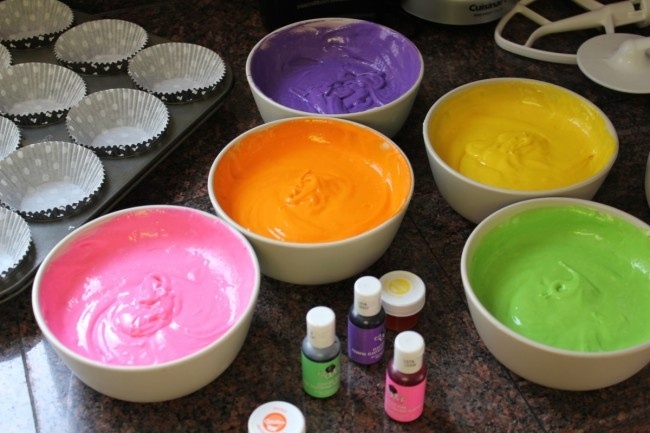 Neon food coloring for cupcake icing for 80's themed cupcakes.