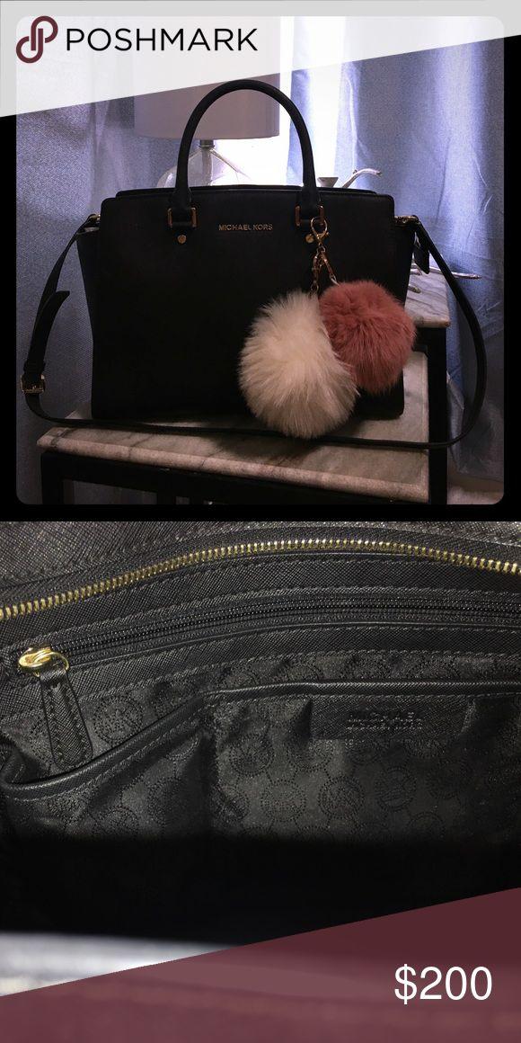 Michael Kors Selma Staffanio leather purse Beautiful Michael Kors Selma large satchel in black. Puffballs not included. Michael Kors Bags Satchels