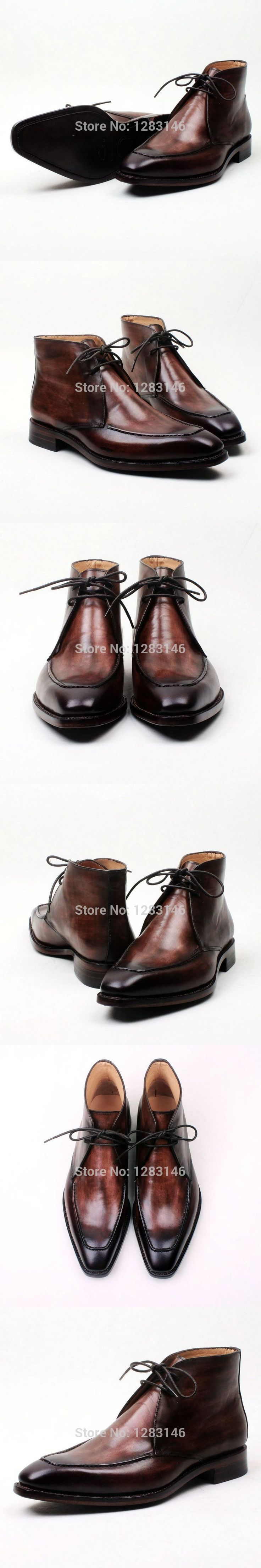 obbilly Bespoke Handmade Lacing Genuine Leather Outsole/Upper/Insole Brown Goodyear Welted Men's Fashion Leather Boot No.a119