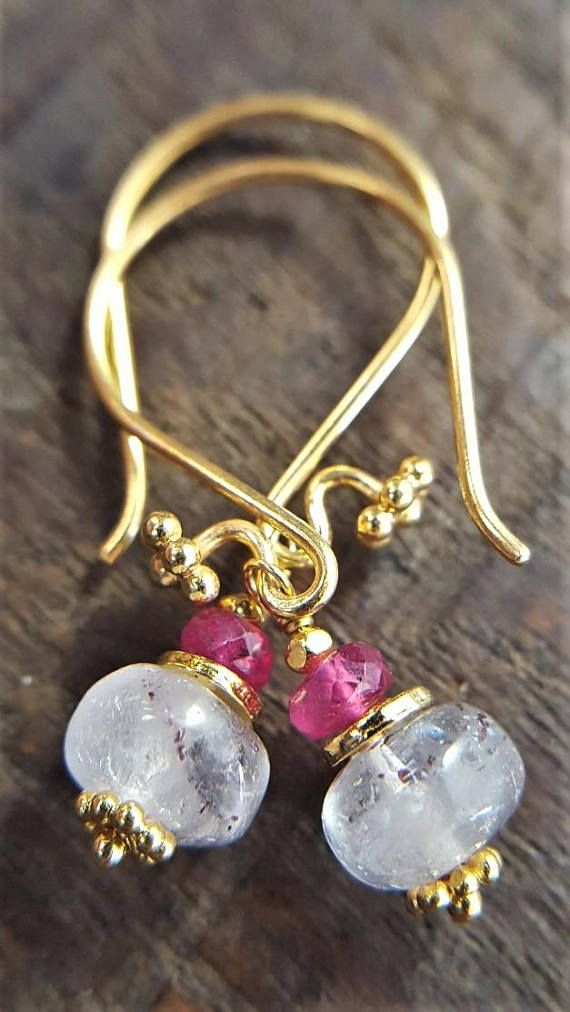 Ruby And Lepidocrocite Earrings Genuine Ruby Lepidocrocite