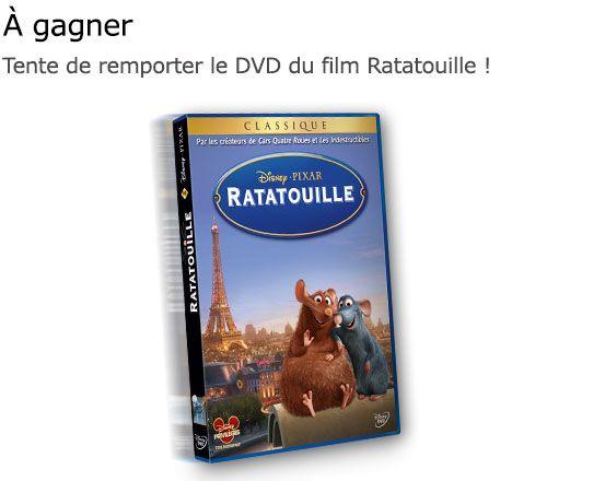 Participez à ce jeu concours Disney et tentez de remporter l'un des20 DVD du film Ratatouille mis en jeu ! Pour tenter votre chance au tirage au sort, vous devez répondre à une question par : Grégory Cuilleron. Le concours se termine le 22 Février 2016. Bonne chance !