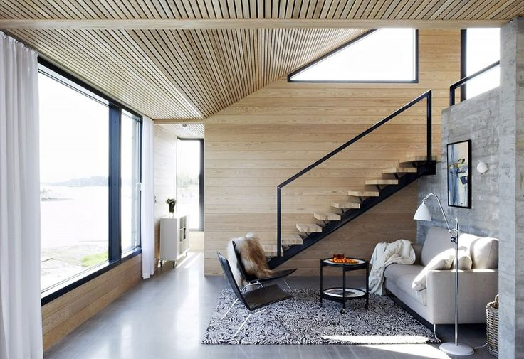 These materials tie in to one another with their linear quality. The dark steel pops nicely against the blond wood. Summer house by filter arkiteketer in norway.