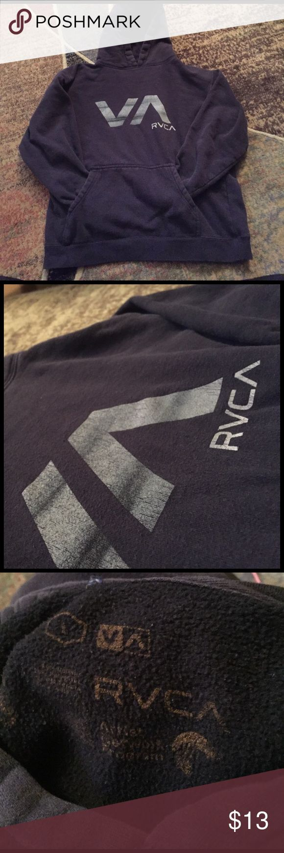 RVCA Hoodie 👚 My boyfriend had bought this for himself but didn't realize it was juniors so he passed it down to me that day lol it says large but it definitely fits a size small! 🙈 the lettering is a smidge cracked but wash it inside out and it should be just fine!😍 RVCA Sweaters Crew & Scoop Necks