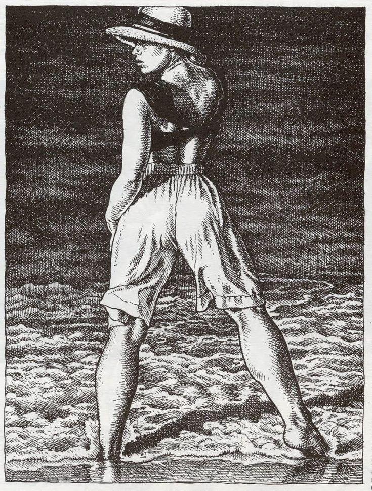 Beautiful woman with nice legs on the beach -Robert Crumb