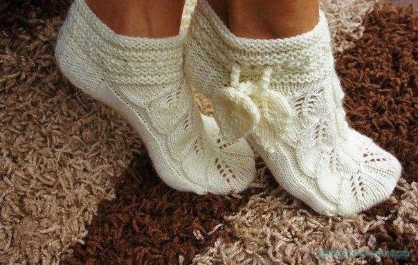 Вязание носков спицами Схема и описание ажурных носков спицами
