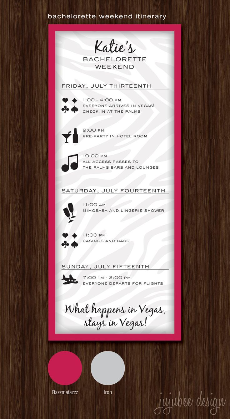 Bachelorette Party Timeline - Digital File. $20.00, via Etsy.