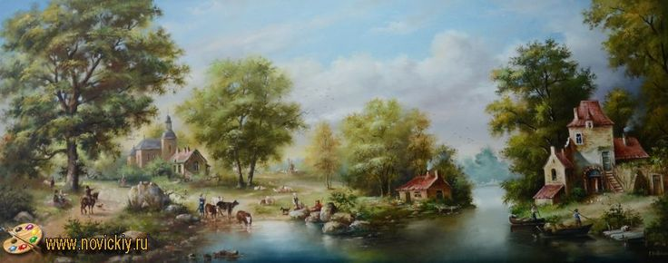 Дорога к мельнице через деревеньку - Голландские пейзажи - Галерея - Картины для интерьера