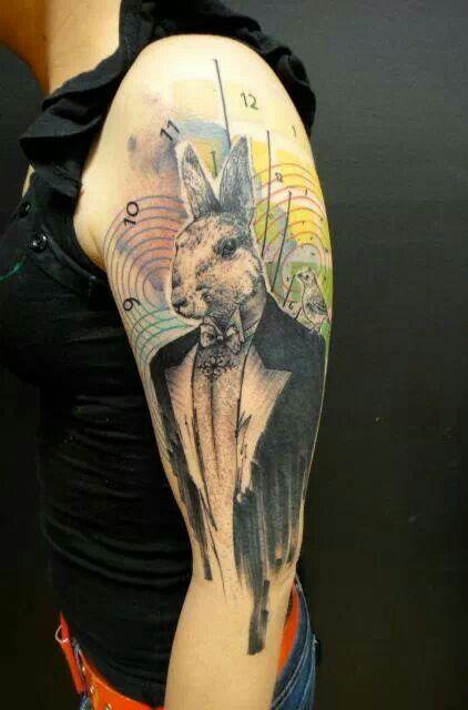 Rabbit gentleman tattoo by Xoil - Love it!