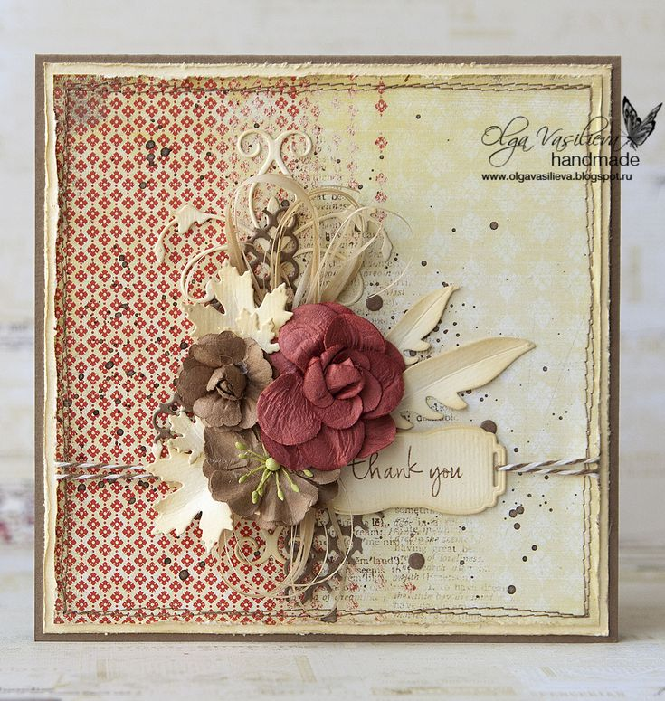 Hello all! It's Olga with a vintage card. Looks a bit autumn like though it's very nice and warm March here now)) I die-cut all the elements and distressed them with the ink. Here are the materails I used: Tithonia Flourish (98775) Teramo Labels (98789) Wild Feathers (98754) Contempo Circle Border (98451) Marvelous Maple Leaves (98766) Stamp