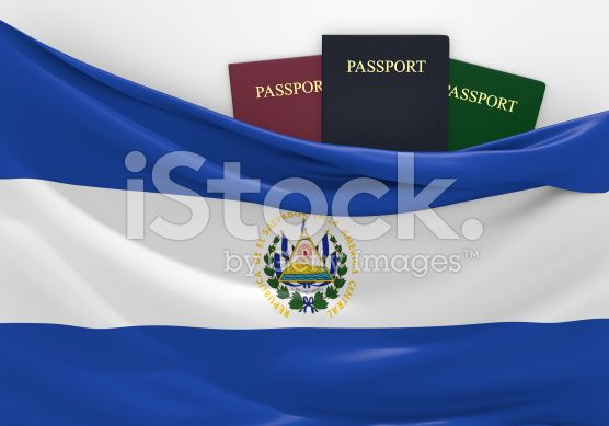 Travel and tourism in El Salvador, with assorted passports royalty-free stock photo