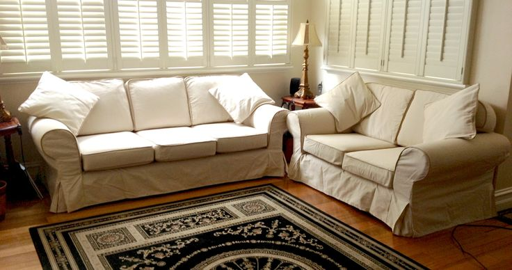 Custom Pottery Barn Basic Sofa Slipcovers - love seat and 3 seater with Contrast Cordings and Box Pleats
