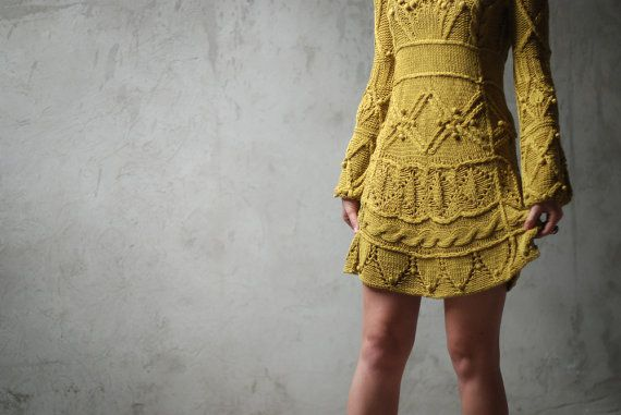 Cotton cable hand knitted dress in mustard by Muza on Etsy, $450.00