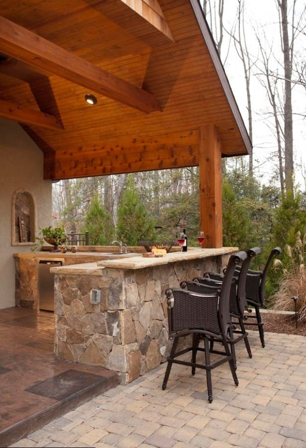 Outdoor bar area outdoor patio ideas pinterest for Traditional outdoor kitchen designs