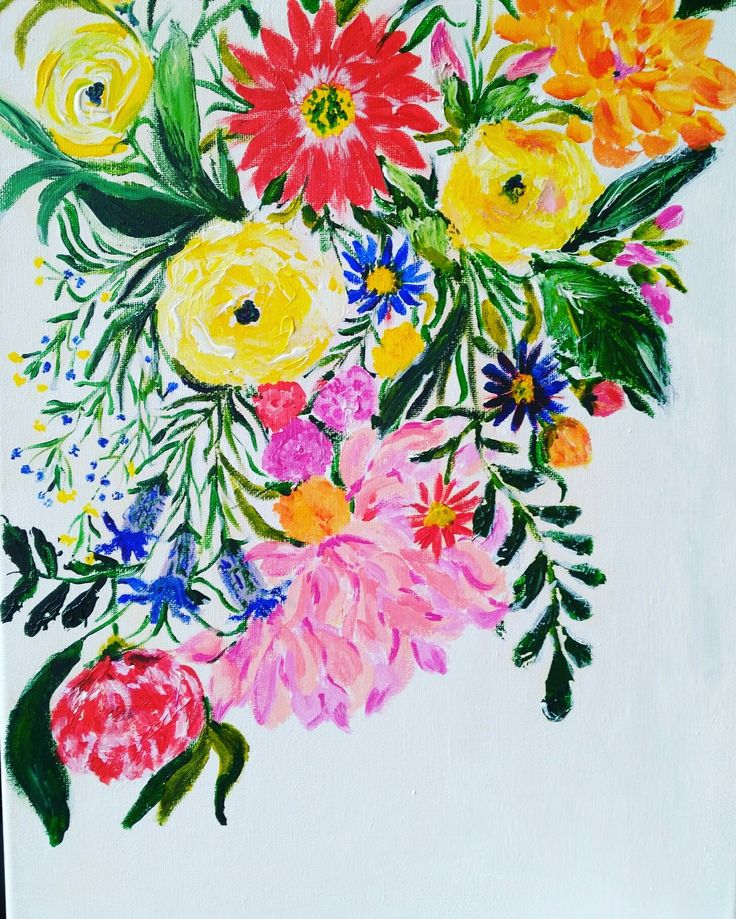Acrylic florals, beautiful spring day painting #floral #flowers #painting