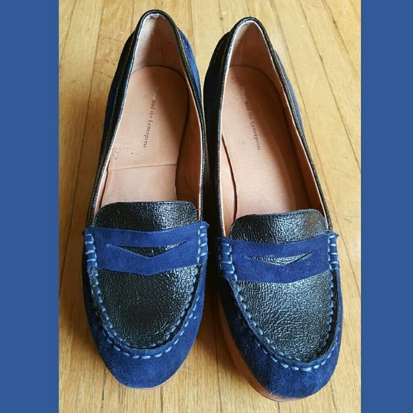 Pilcro and Letterpress Blue wedge Loafers 2 1/2 inches heeled blue loafers Anthropologie Shoes Wedges