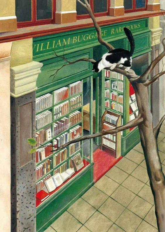 Hay librerías que encierran sobre sus estanterías auténticos tesoros, libros raros y muy originales (ilustración de Federico Delicado)