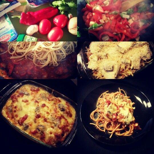 (Vegetarisch) Ovengebakken spaghetti met vier kazen