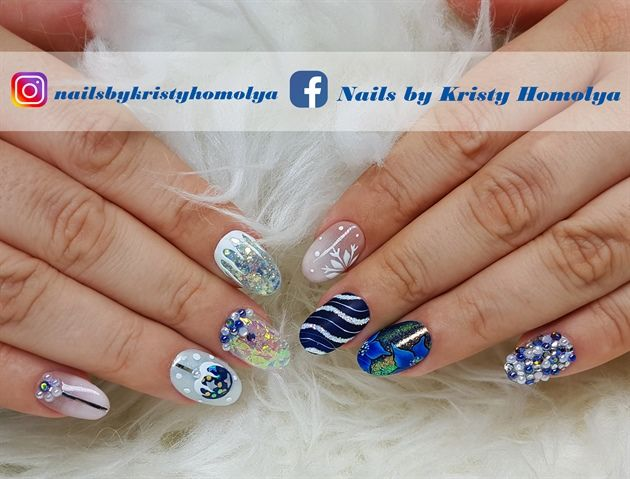 Gel Polish On Natural Nails With Ombre Mermaid Effect Angel Paper Sugar Effect 3d Gel Design Hand Painted Winter Nail Art Christmas Holiday Nail Art Nails