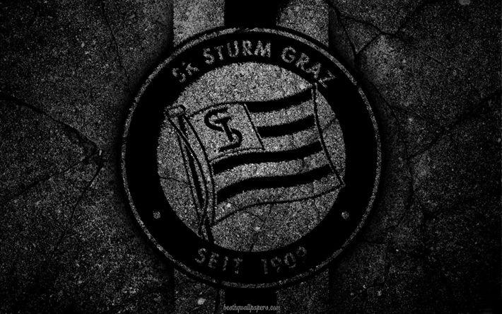 Télécharger fonds d'écran Sturm Graz, du logo, de l'art, de l'autriche Bundesliga, football, club de football, FC Sturm Graz, la texture de l'asphalte