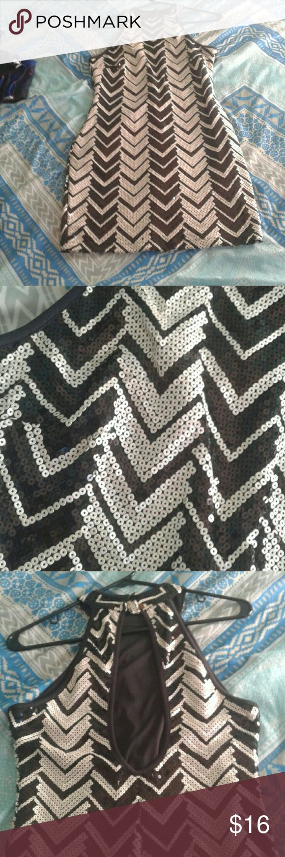 Black and white sequin dress Midi length worn only ONCE honey and rosie Dresses Midi