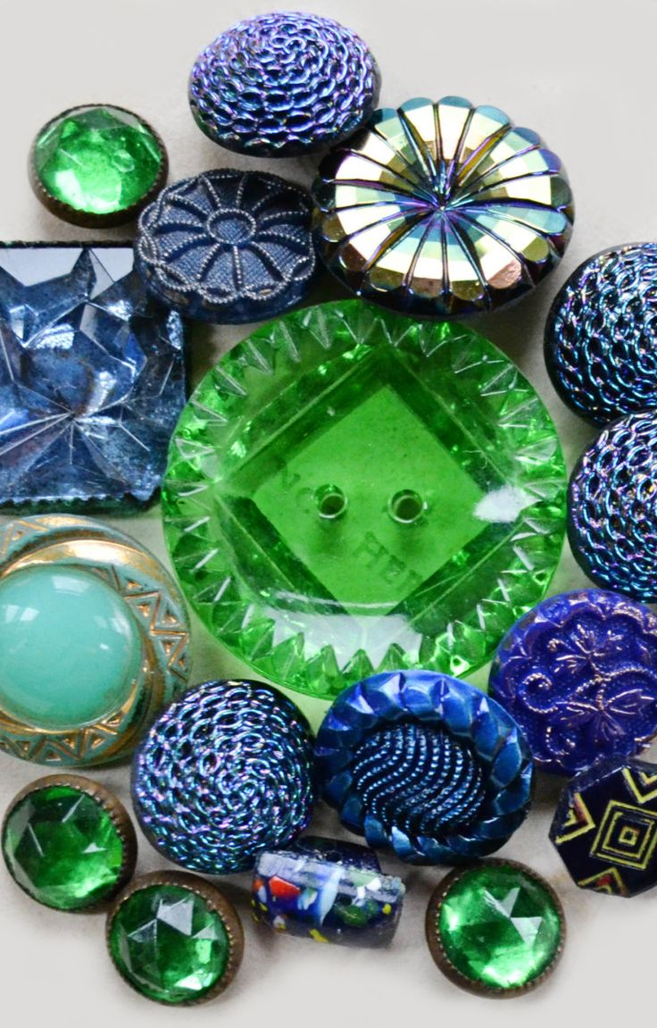 Vintage blue and green glass buttons