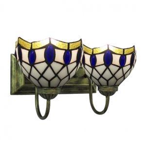 Remarquable Bronze Finition Lampe pour salle de bain avec Deux ascendant Tiffany abat-jours pour salle de bain bar