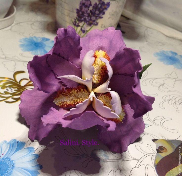 """Купить Заколка-зажим""""Ирис"""" - фиолетовый, брошь ручной работы, цветы, цветы ручной работы, цветок"""