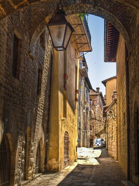 Alley in Gubbio, Italy by Anguskirk, via Flickr
