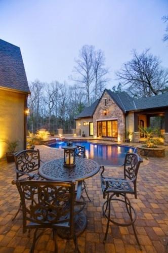 Brick pavers: Custom Pools, Idea, Dreams Houses, Pools Houses, Patio, Water Custom, Pools Design, Houses Design, Fall Water
