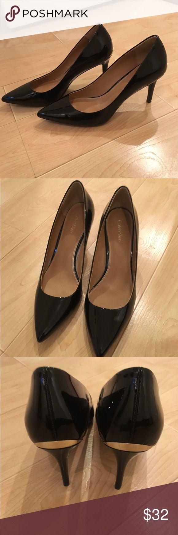 Calvin Klein black patent leather shoes! These black Calvin Klein patent leather shoes are new this season and in excellent condition! They are very comfortable and pair well with any outfit. There are gold accents on the back of the shoe (as shown). Calvin Klein Shoes Heels