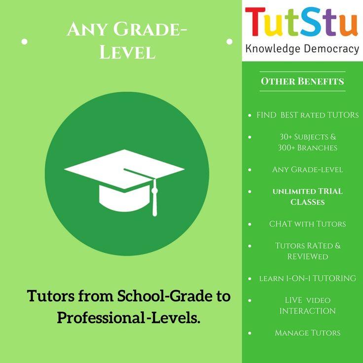 Find teachers from School grade to Professional Level. Tutors for Pre-School, Middle-school, High-school, College & University, ICSE, CBSE, State Board Preparation Help, Project help.