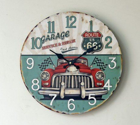 Schmuckbox 14' Vintage United States Route 66 Non-Ticking Silent Wood Wall Clock with Car Hot -- Don't get left behind, see this great  product : home diy wall