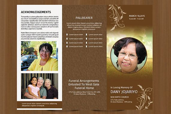 trifold funeral program template obituary program template photoshop ms word and mac page
