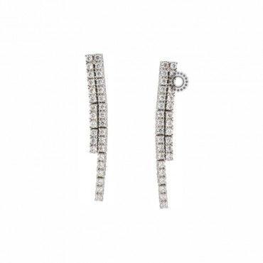 Μακριά κρεμαστά γυναικεία σκουλαρίκια λευκόχρυσα Κ14 ριβιέρα με διπλό σειρέ από ζιργκόν | Σκουλαρίκια ΤΣΑΛΔΑΡΗΣ Κοσμήματα στο Χαλάνδρι #σειρε #λευκοχρυσο #ζιργκον #σκουλαρικια