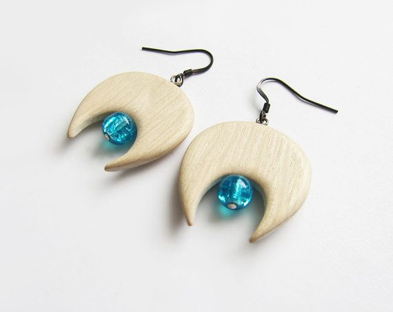 Wooden earrings natural maple wood handmade by forEVAhairforks