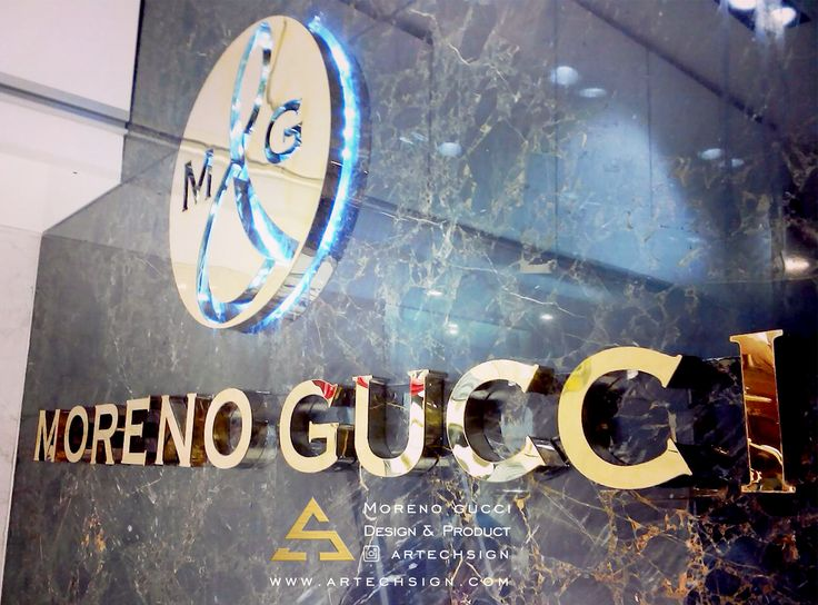 Back light Steel Embossed Letter of Gucci Store locate in Velenjak , Tehran , Iran