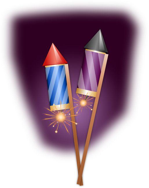 Clipart –  Blue & Purple Rockets