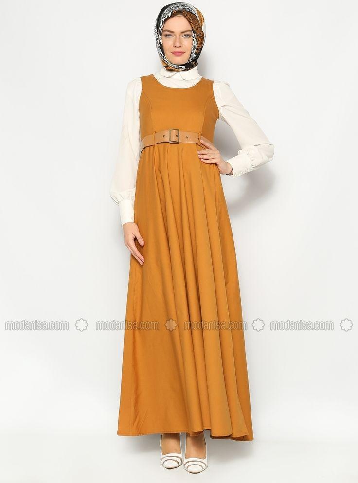 Kemerli Jile Elbise - Taba - Sultan- ı Yegah