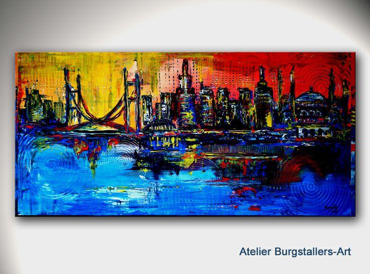 http://www.burgstallers-art.de ISTANBUL - Original Gemälde Abstrakt - Moderne Kunst Malerei - Stadt Skyline City Town Bild - Künstler Bilder